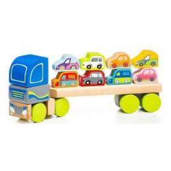 Cubika Ξύλινο Φορτηγό με 8 αυτοκινητάκια