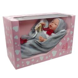 D'Nenes Κούκλα Μωρό Βινυλίου 'Αγόρι Γκρι ρούχα' 48 εκ.