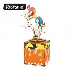 "Robotime 3D Ξύλινη Κατασκευή - Μουσικό Κουτί ""DIY Music Box - AM301 - Bird and Tree"""