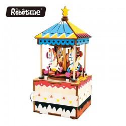 "Robotime 3D Ξύλινη Κατασκευή - Μουσικό Κουτί ""DIY Music Box - AM304 - Merry Go Round"""