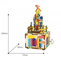 "Robotime 3D Ξύλινη Κατασκευή - Μουσικό Κουτί ""DIY Music Box - AM307 - Castle in the sky"""