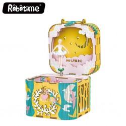 "Robotime 3D Ξύλινη Κατασκευή - Μουσικό Κουτί ""DIY Music Box - AMD52 - Dancing Ballerina"""