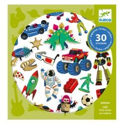 Djeco 30 Αυτοκόλλητα φουσκωτά 'Ρετρό παιχνίδια'