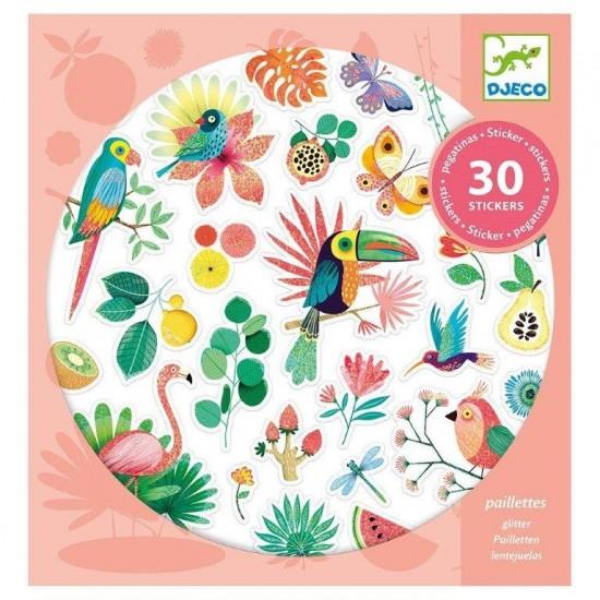 Djeco 30 Αυτοκόλλητα με γκλίτερ  'Παραδείσια πουλιά'