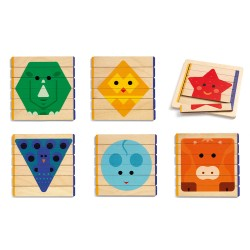 Djeco 6 ξύλινα παζλ σε πλαίσιο - Ζωάκια - Γεωμετικά σχήματα