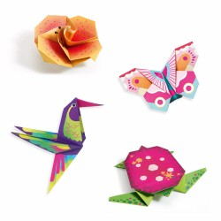 Djeco Οριγκάμι κατασκευή νέον χρώματα - Τροπικά ζωάκια και λουλούδια