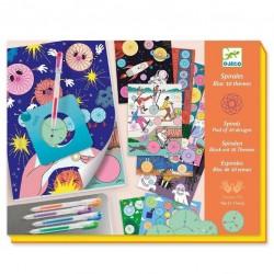 Djeco Σχεδιάζω και χρωματίζω με σπιράλ - Μπλοκ 10 θέματα - 30 σελίδες