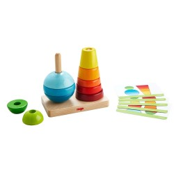Haba ξύλινο παιχνίδι στοίβαξης με καβίλιες - Χρώματα - Σχήματα